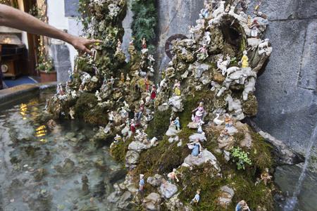 creche: Amalfi, Italy: Amalfi creche and fountain. In the Amalfi city centre, a symbol of neapolitans creche