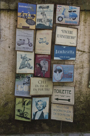retro styled: Amalfi, Italy: Vintage shop in Amalfi, with retro styled old papers label