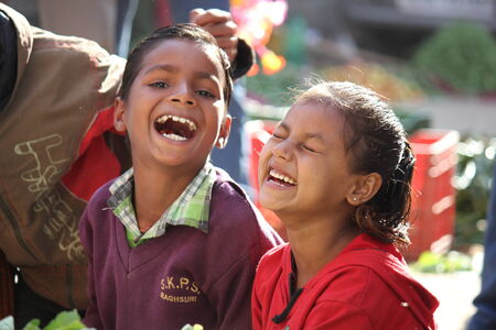 Pushkar, India: Indian children smiling. Beautiful image of happiness of child in India