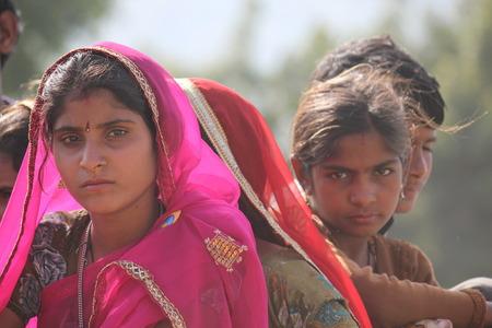 Pushkar, India: Beautiful Indian girl at Pushkar fair, in the Indian Rajasthan state Editorial