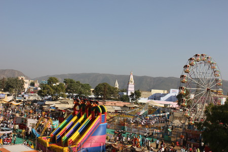 Pushkar, India: View from the top of the Ferris wheel of the city of Pushkar and its famous Camel Fair