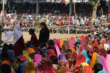exhibition crowd: Pushkar, India: Crowd of people at Pushkar fair, in the Indian Rajasthan state, waiting for an exhibition. Many beautiful woman colorful saree.