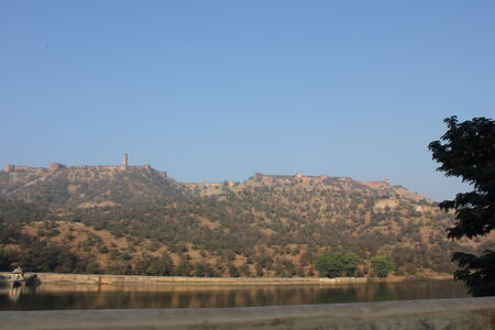 amber fort: JAIPUR, INDIA: View from the distance of Amber Fort, the main touristic attraction in Jaipur