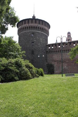sforza: Milan, Italy, May 9 2014. Milan Sforza Castle. Symbol of the city, built in the 15th century by Francesco Sforza, Duke of Milan.