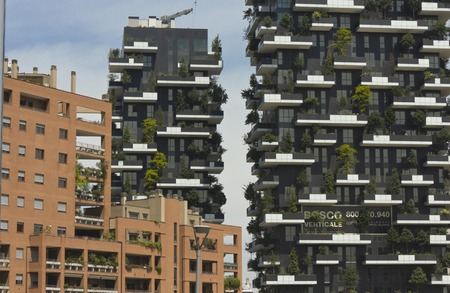 bosco: MILAN, ITALY - MAY 10 2014: Bosco Verticale (Vertical Forest) Architectural detail. Designed by Stefano Boeri, they are residential towers in the Porta Nuova district of Milan