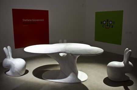 of the senses: MILAN, ITALY - APR 11: Rabbit Tree by Stefano Giovannoni, during the exhibition Solid Senses, where marble meets art and technology, at Salone del Mobile di Milano, on April 11 2014 Editorial