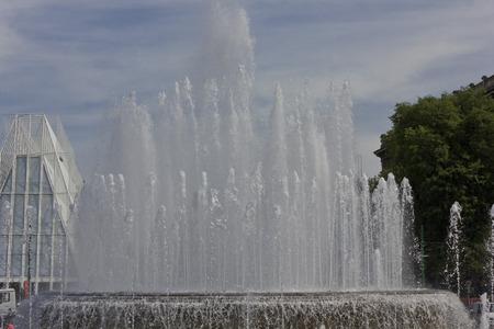 sforza: Milan, Italy, May 9 2014. Milan Sforza Castle main fountain. Editorial