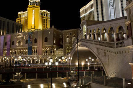 rialto: LAS VEGAS, AUGUST 5: The Venetian Hotel at Night with its Rialto Bridge, on August 5 2013