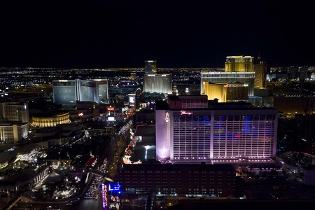 aereal: LAS VEGAS, USA - AUGUST 6: View from the top of Paris Tower of Las Vegas and its strip at night, on August 6 2013