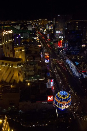 sin city: LAS VEGAS, USA - AUGUST 6: View from the top of Paris Tower of Las Vegas and its strip at night, on August 6 2013