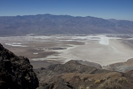viewpoint: FURNACE CREEK, USA - August 8 2013: Panomarmic View of Death Valley National Park from Dantes view viewpoint, with its dry salted lake Stock Photo