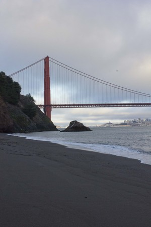 campground: SAN FRANCISCO, USA - AUG 11 2013: View of Golden Gate bridge from Kirby Cove campground beach