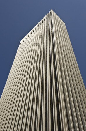 montgomery: SAN FRANCISCO, USA - AUG 12 2013: 44 Montgomery, an office skyscraper in the heart of San Franciscos Financial District, Looking up architectural detail. Editorial