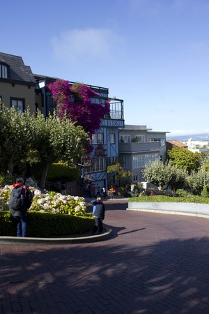 switchback: SAN FRANCISCO, USA - AUG 11 2013: The famous Lombard Street in San Francisco, famous for its steep, one-block section with eight hairpin turns, with its homes full of flowers and person walking.