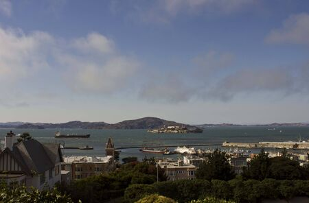 san francisco bay: SAN FRANCISCO, USA - AUGUST 11 2013: View of San Francisco Bay Area and Alcatraz island from the top of an hill