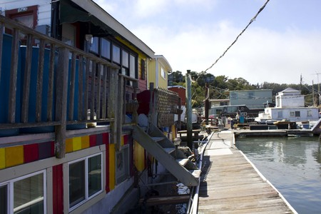 shanty: SAN FRANCISCO, USA - AUG 11 2013: Sausalito houseboats, in the San Francisco Bay Area, picturesque residential community