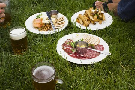 pic nic:   Brunch on the grass in San Francisco, with beer, salami and potatoes Stock Photo