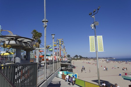 SANTA CRUZ, USA - AUGUST 14 2013: Chairlift inside the Santa Cruz Beach, an amusement Park in California, Usa, in a sunny day in the summer, with Pacific Ocean in the background