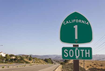 CALIFORNIA, USA - AUG 15 2013: California highway 1 green sign on the street