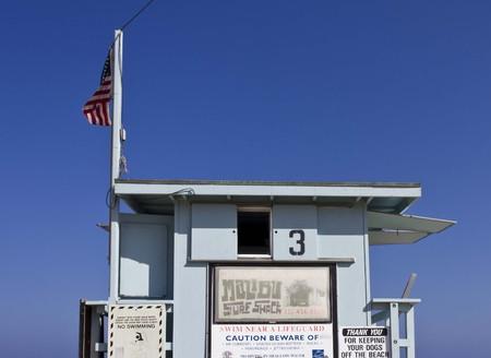 life guard: MALIBU, USA - AUGUST 16 2013: Back side close up detail of a Life Guard Tower in Malibu Beach, California