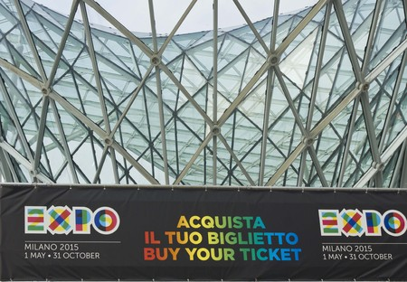 ticket office: MILAN, ITALY - MARCH 20 2014: Expo 2015 Ticket office at the entrance of Milan Trade Fair in Rho Fiera district of Milan