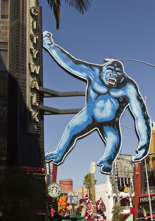 king kong: LOS ANGELES, CALIFORNIA - AUG 16 2013: Huge King Kong hang on a palace in the Universal Studios in Hollywood