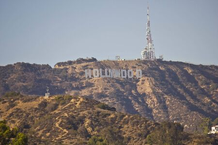 hollywood   california: LOS ANGELES, USA - AUG 17 2013: The Hollywood Sign, icon located in Los Angeles, California. It is situated on Mount Lee. Editorial