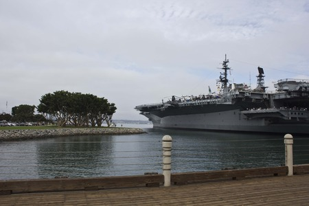 naval: SAN DIEGO, USA - AUGUST 19 2013: USS Midway Museum boat in San Diego harbour, naval aviation museum in San Diego