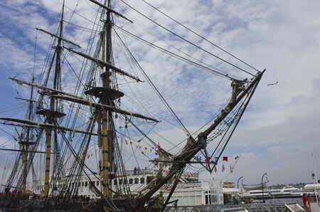 sailing ships: SAN DIEGO, USA - AUGUST 19 2013: The Maritime Museum of San Diego, that features a world-class collection of historic vessels, such as sailing ships, steam-powered boats and submarines. Sailing Boats close up