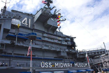 midway: SAN DIEGO, USA - AUGUST 19 2013: USS Midway Museum boat in San Diego harbour, naval aviation museum in San Diego