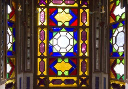 colored window: REGGELLO, ITALY - MAY 2 2015: Detail of the colored glass window inside Sammezzano Castle in Italy