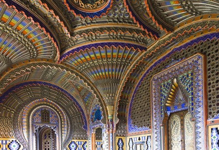 and magnificent: REGGELLO, ITALY - MAY 2 2015: The magnificent Peacock Room inside the Sammezzano abandoned Castle in the heart of Italy