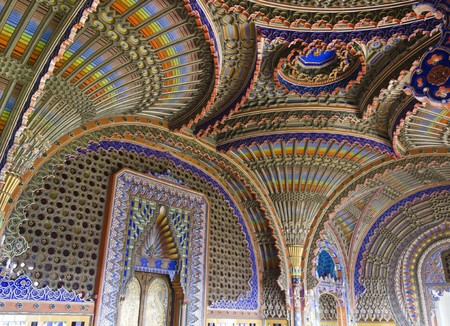 polychrome: REGGELLO, ITALY - MAY 2 2015: The magnificent Peacock Room inside the Sammezzano abandoned Castle in the heart of Italy