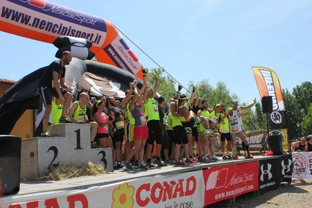 dais: SIGNA, ITALY - MAY 9 2015: Team of a running competition on the stage before the beggining of the competition, near Florence, Italy Editorial
