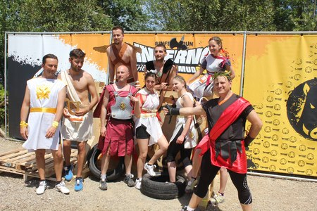 costum: SIGNA, ITALY - MAY 9 2015: Participant at Inferno Run 2015 near Florence, funny dressed as in Gladiators Era, mbefore the beginning of the race