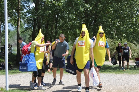 inferno: SIGNA, ITALY - MAY 9 2015: Participant at Inferno Run 2015 near Florence, funny dressed as bananas, before the beginning