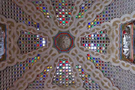 glass ceiling: REGGELLO, ITALY - MAY 2 2015: Colorful glass ceiling with  different glass colours inside Sammezzano Castle in Italy