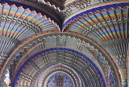 ceiling: REGGELLO, ITALY - MAY 2 2015: Close up of the magnificent ceiling in the Peacock room of Sammezzano Castle in the heart of Tuscany