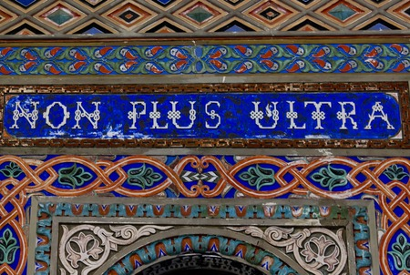 castle interior: REGGELLO, ITALY - MAY 2 2015: Sammezzano Ancient Castle interior. Close up of the doorway with the text Non Plus Ultra Editorial