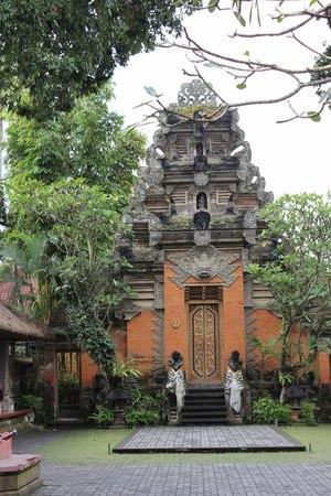 ubud: Tower inside Puri Saren Ubud, the Kingdom Palace of Ubud, Indonesia, surrounded by trees