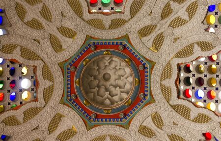 REGGELLO, ITALY - MAY 2 2015: Colorful glass ceiling with  different glass colours inside Sammezzano Castle in Italy