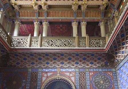 italian architecture: REGGELLO, ITALY - MAY 2 2015: Inside the Sammezzano Castle in Italy, beautiful Oriental style Catle in Tuscany Editorial