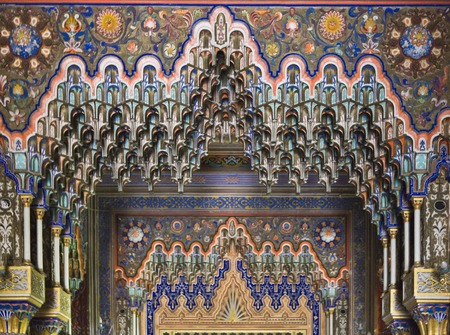ceiling: REGGELLO, ITALY - MAy 2 2015: Close up detail of the stalactite ceiling inside the Sammezzano ancient Castle in Tuscany, Italy Editorial