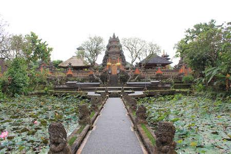 dull: BALI, INDONESIA - JULY 6 2012: Bali Saraswati Temple in Bali, Ubud region, Indonesia, in a dull day
