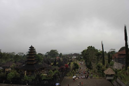 top 7: BALI, INDONESIA - JULY 7 2012: View from the top of Besakih sacred temple in Bali, looking at the main promenade, in a rainy day