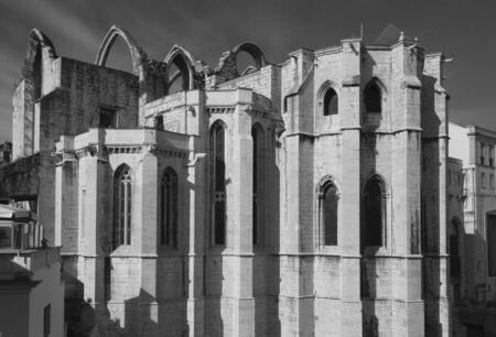 roofless: Overview of Convento do Carmo church in Lisbon, Portugal. Black and white