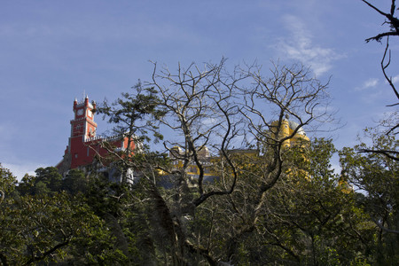 the pena national palace: Overview of Pena National Palace in Sintra, Portugal, with trees in the foreground