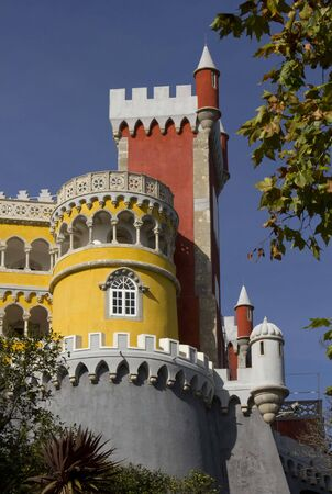 patrimony: SINTRA, PORTUGAL - OCTOBER 25 2014: Close up of Pena Castle in Sintra, Portugal, with its vivid colours of Moorish style