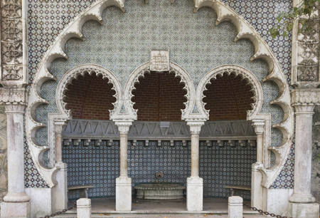 sintra: SINTRA, PORTUGAL - OCTOBER 25 2014: Shelter along Sintra Street in Portugal, in traditional Moorish Style
