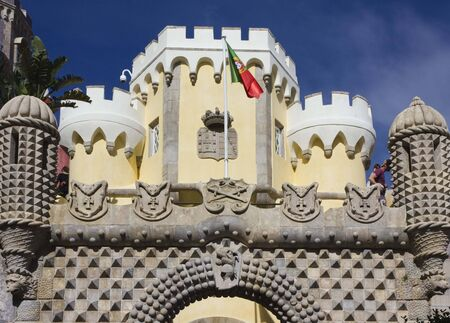 the pena national palace: Entrance gate of Pena National Palace in Sintra, Portugal Editorial